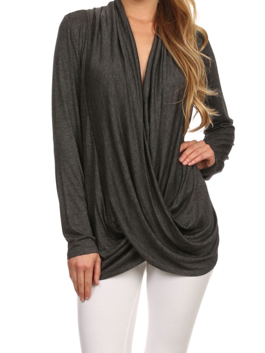 Drape Neck Tunic Top - BohoLocoBoutique