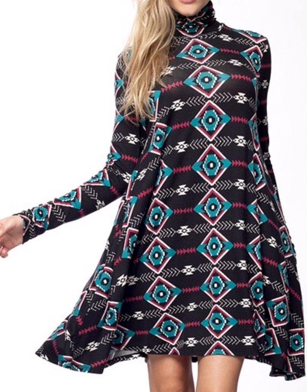 Aztec Print Turtleneck Dress - BohoLocoBoutique
