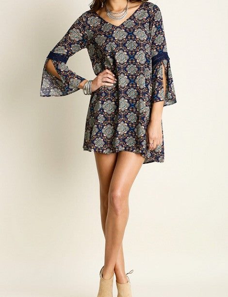 Bell Sleeve Embroidered Paisley Shift Tunic Dress - BohoLocoBoutique