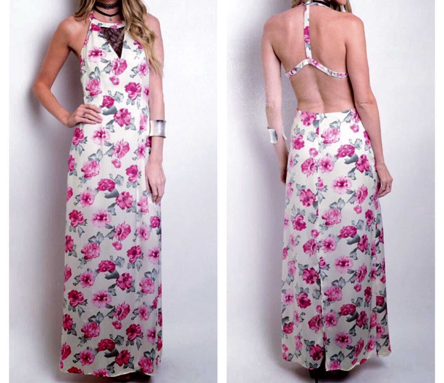 Lace Floral Cream Maxi Dress - BohoLocoBoutique