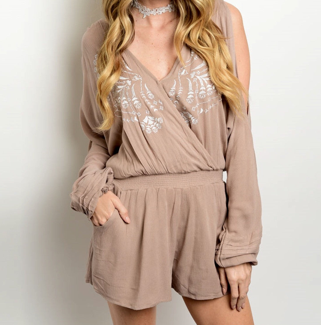 Taupe Embroidered Romper - BohoLocoBoutique