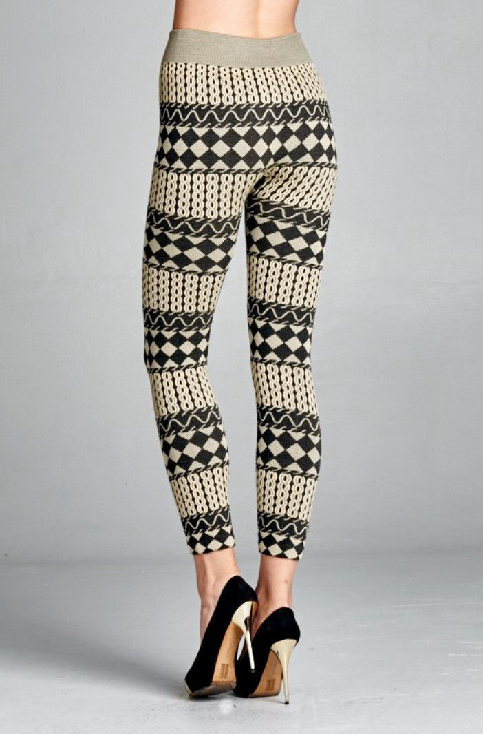 Diamond Print Fleece Leggings - BohoLocoBoutique