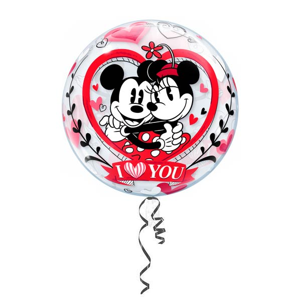 "Globo Burbuja 22"" Mickey and Minnie Love You"