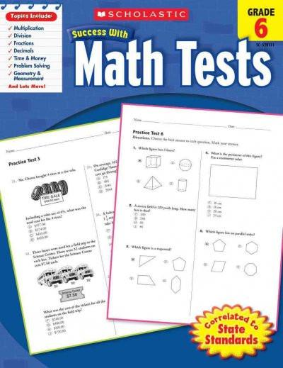 Success With Math Tests: Grade 6