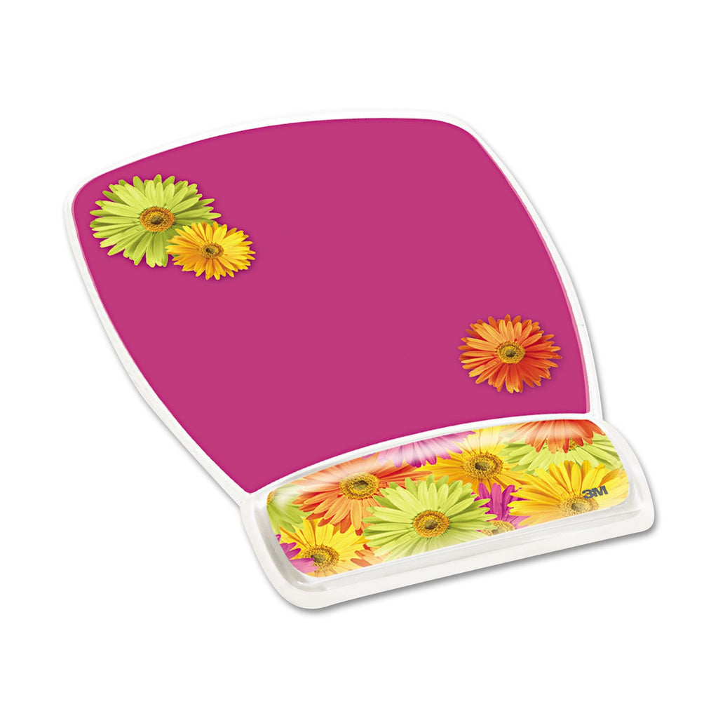 Fun Design Clear Gel Mouse Pad Wrist Rest, 6 4/5 X 8 3/5 X 3/4, Daisy Design