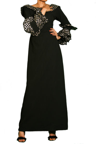 Black Brocade Dress