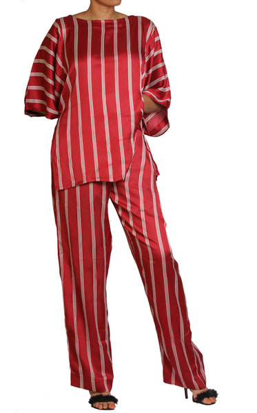 Burgundy Stripe set