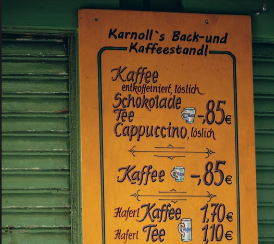 Picture of a coffee shop selling coffee and cake in Munich, taken from Standart magazine