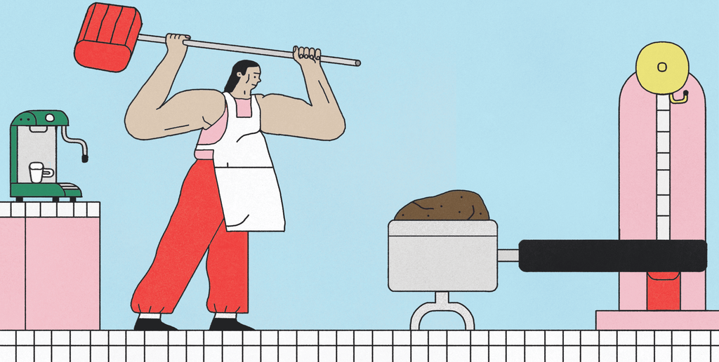 Illustration by Zack Rosebrugh for an article in Standart magazine asking 'how hard should you tamp?'