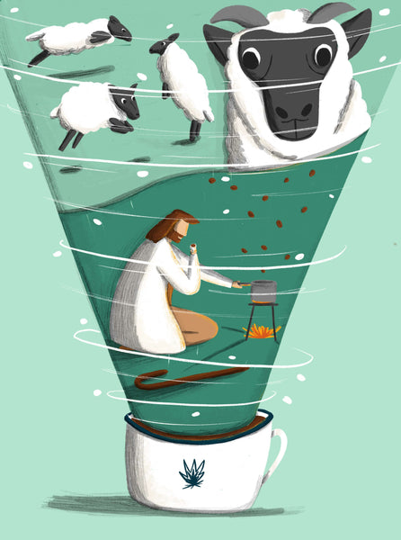 Illustration of Kaldi, an Ethiopian goatherd discovering coffee. By illustrator Rachael Presky for Standart Magazine