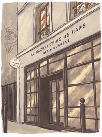 Illustration of La Café Alain Ducasse, Paris by Adrian Macho (seasidespirit) for Standart magazine.