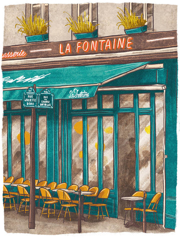 Illustration of La Fontaine de Belleville, Paris by Adrian Macho (seasidespirit) for Standart magazine.