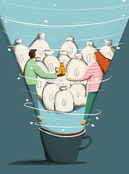 Illustration by Rachael Presky about coffee trading. Created for Standart magazine.