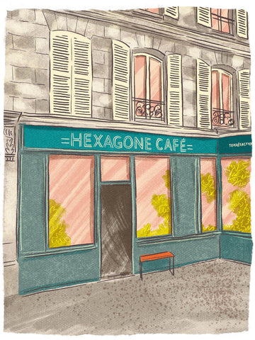 Illustration of Hexagone Café, Paris by Adrian Macho (seasidespirit) for Standart magazine.