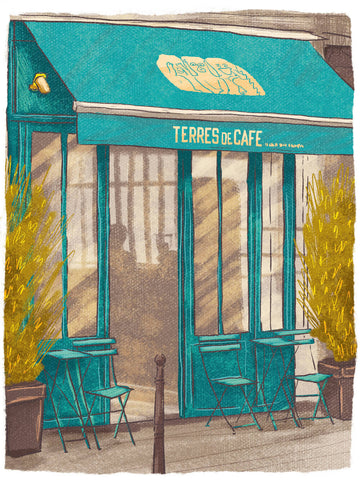 Illustration of Terres de Café, Paris by Adrian Macho (seasidespirit) for Standart magazine.