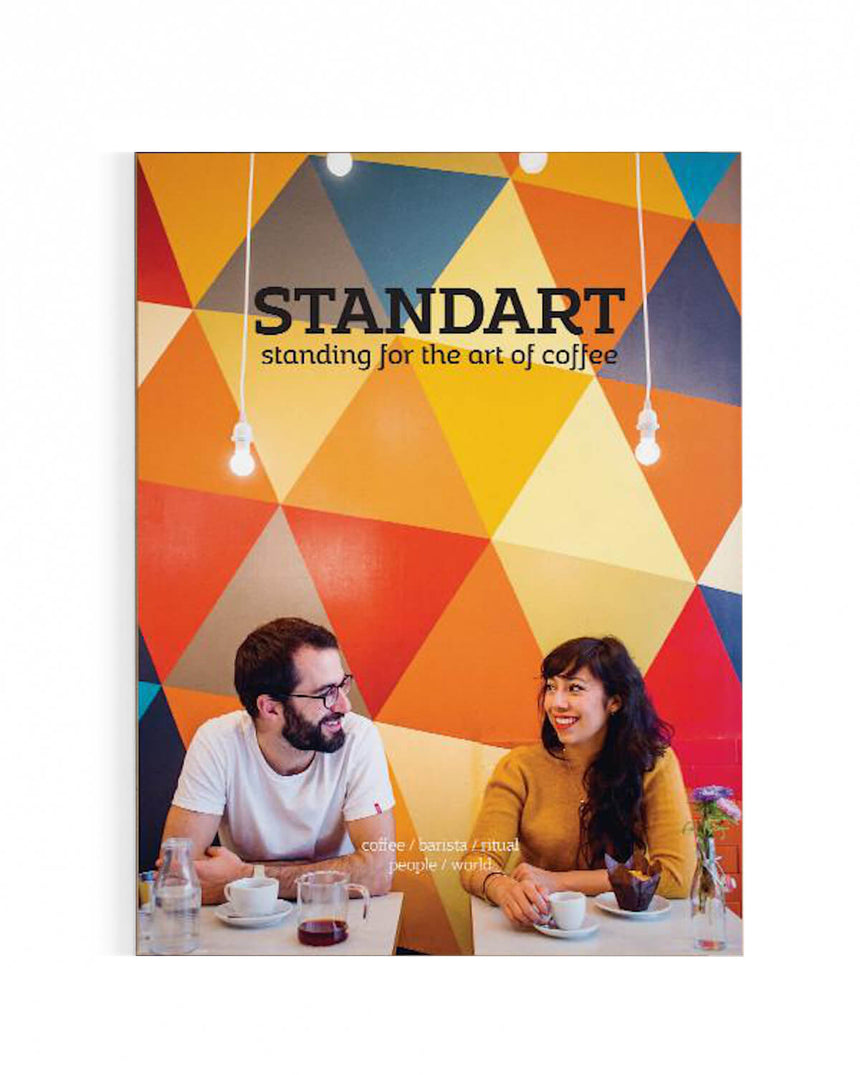Two people drinking speciality coffee on the cover of Standart magazine