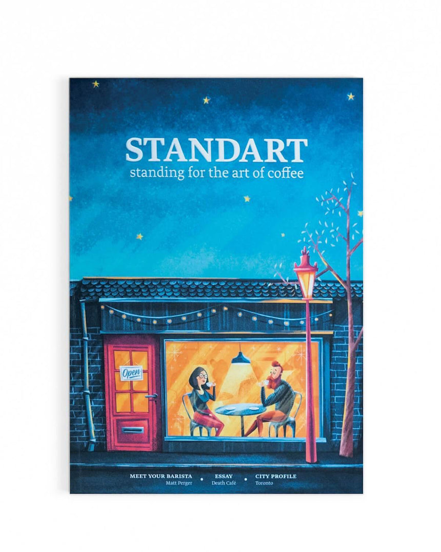 Illustration of people drinking speciality coffee on the cover of Standart magazine