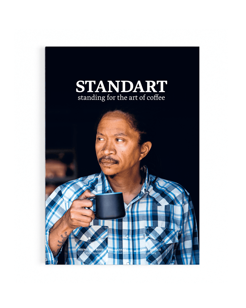 Cover of Standart magazine issue 9. Voted best coffee magazine by sprudge.com readers in the sprudgie awards.