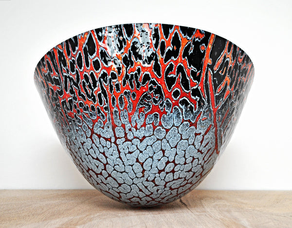 Embers - Handmade Kiln Formed Fused Glass Art Vessel
