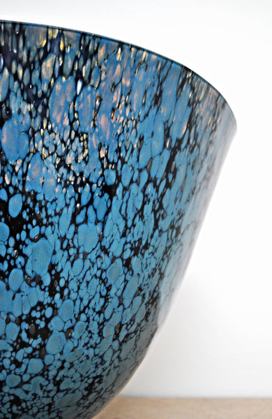 kiln formed fused glass art vessel