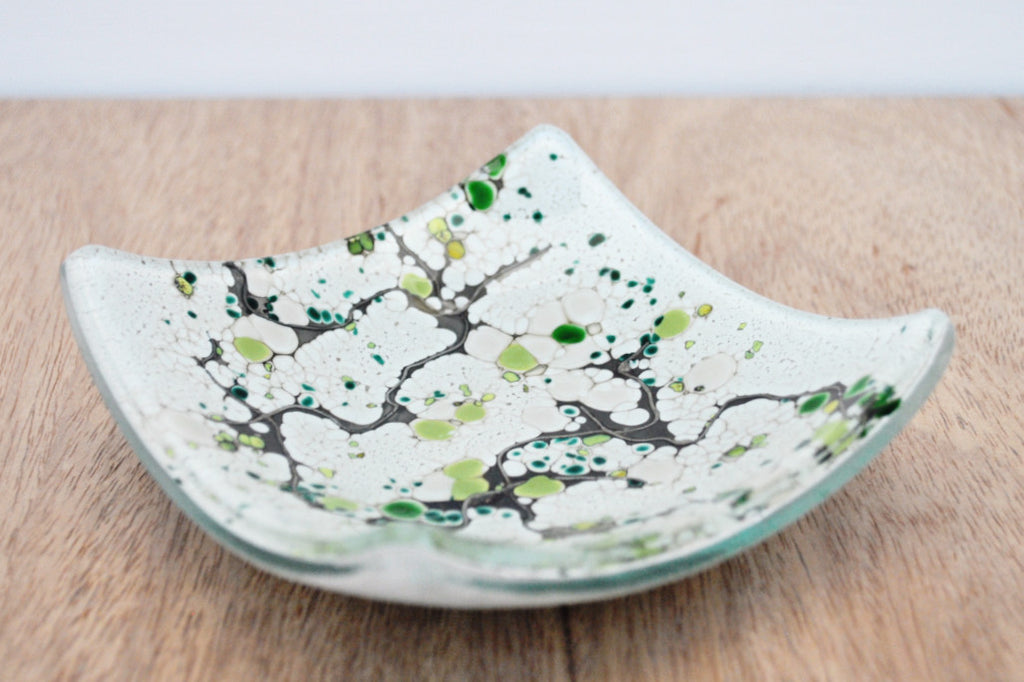 Isla Contoy - Small kiln formed fused art glass bowl