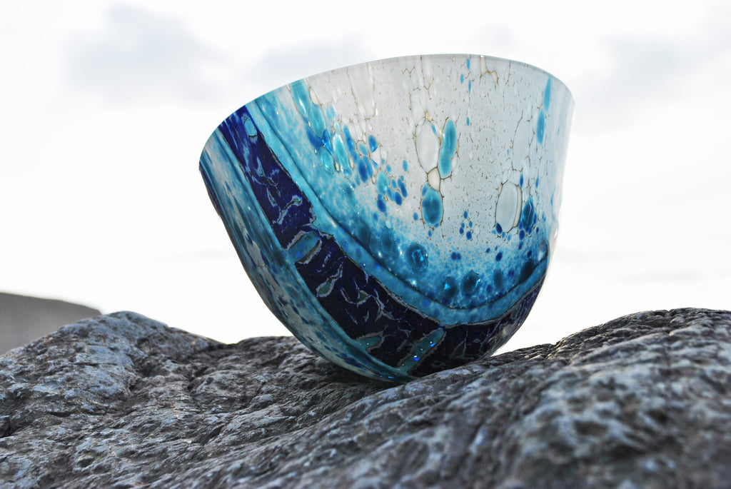 Interactions - Kiln formed fused glass vessel