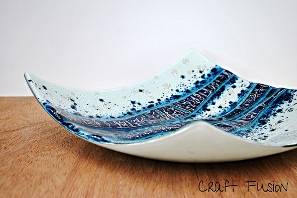 Glass bowl, fused glass art by Craft Fusion blue and white coloured glass