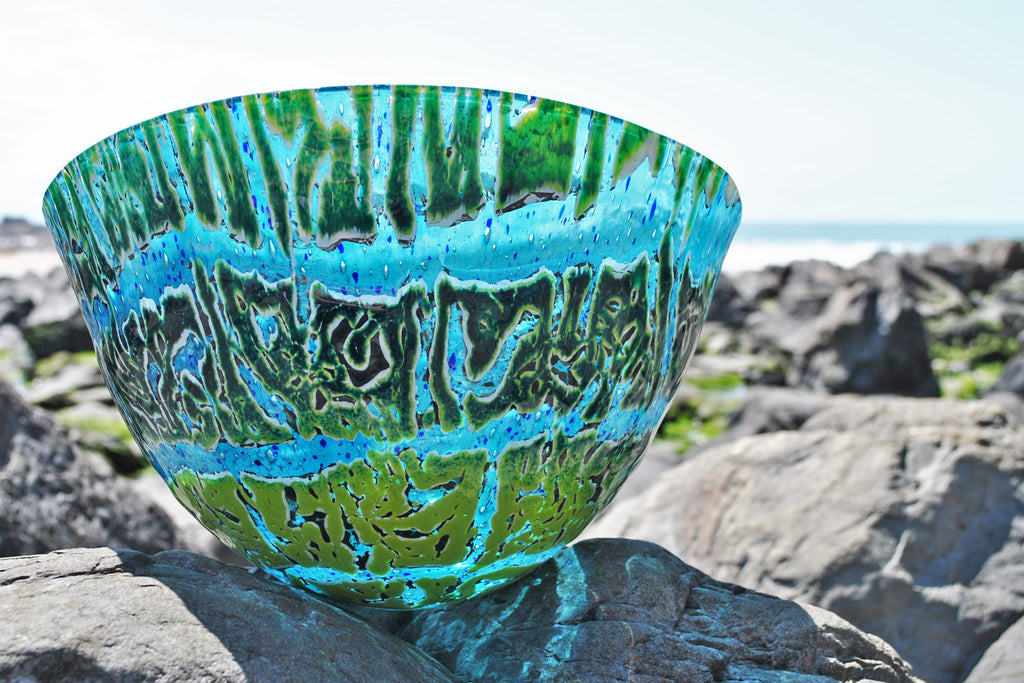 Glass vessel, fused glass art by Craft Fusion blue and green coloured glass vessels