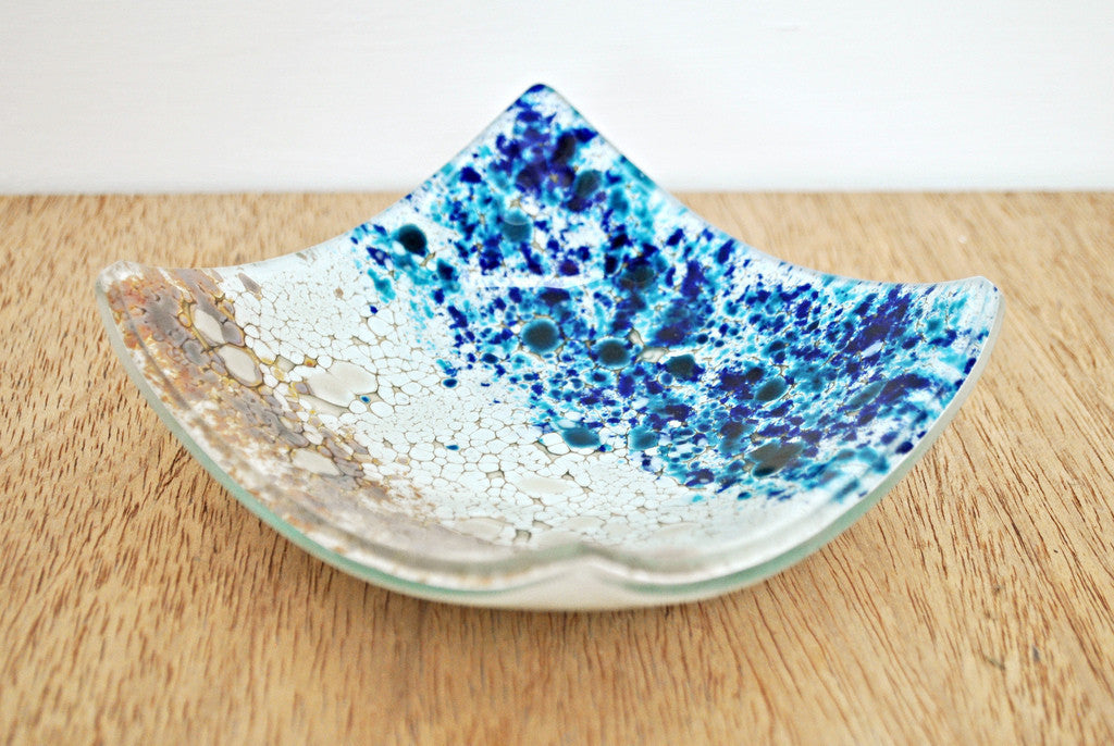 Glass bowl, fused glass art by Craft Fusion Sandy and blue coloured glass