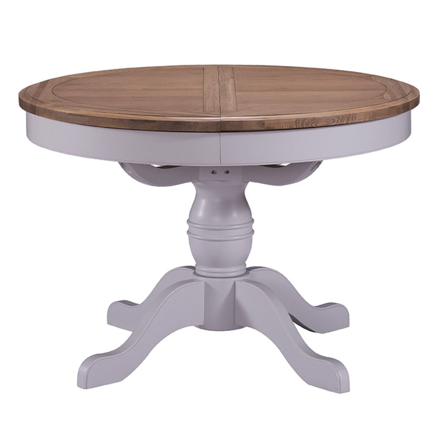 Georgia grey painted and oak dining table round extending pedestal georgia furniture co - Round extending dining table ...