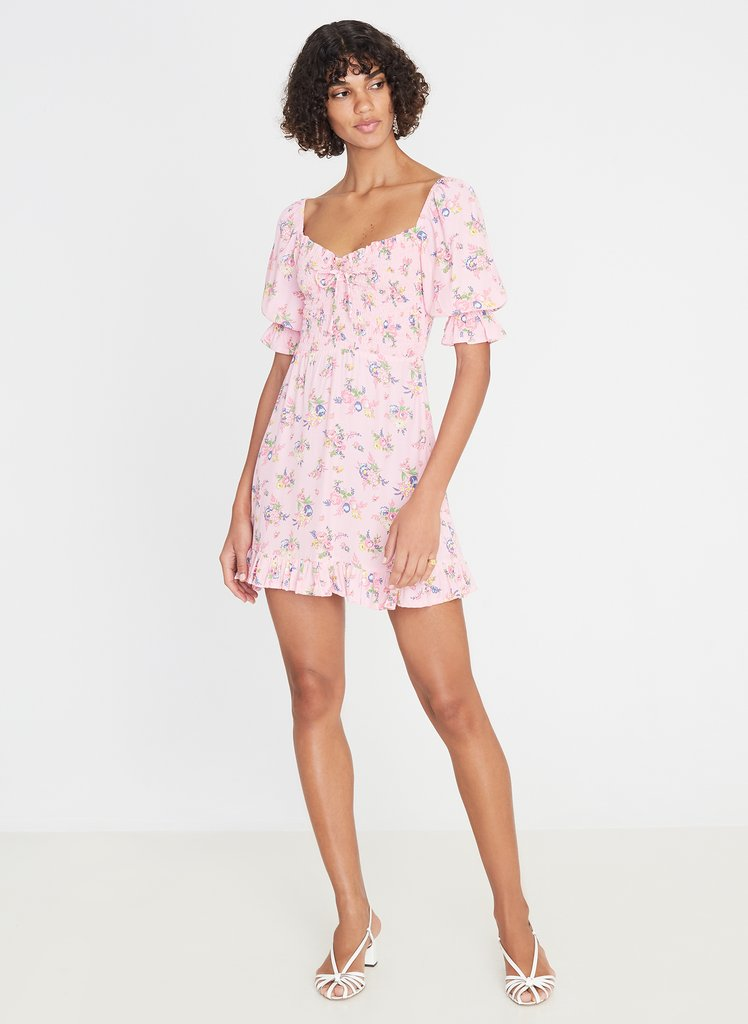 Sage Mini Dress - Juliette Floral Pink