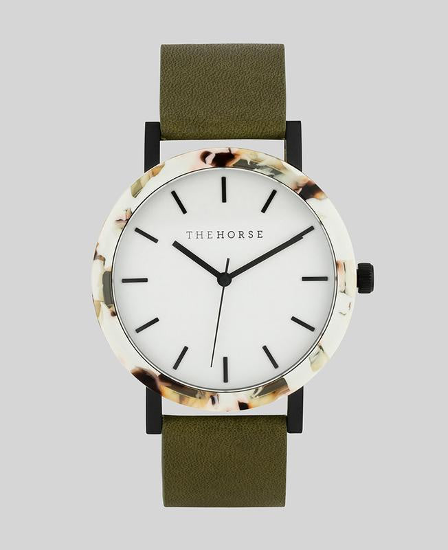 The Resin - Nougat Shell / White Dial / Olive Leather