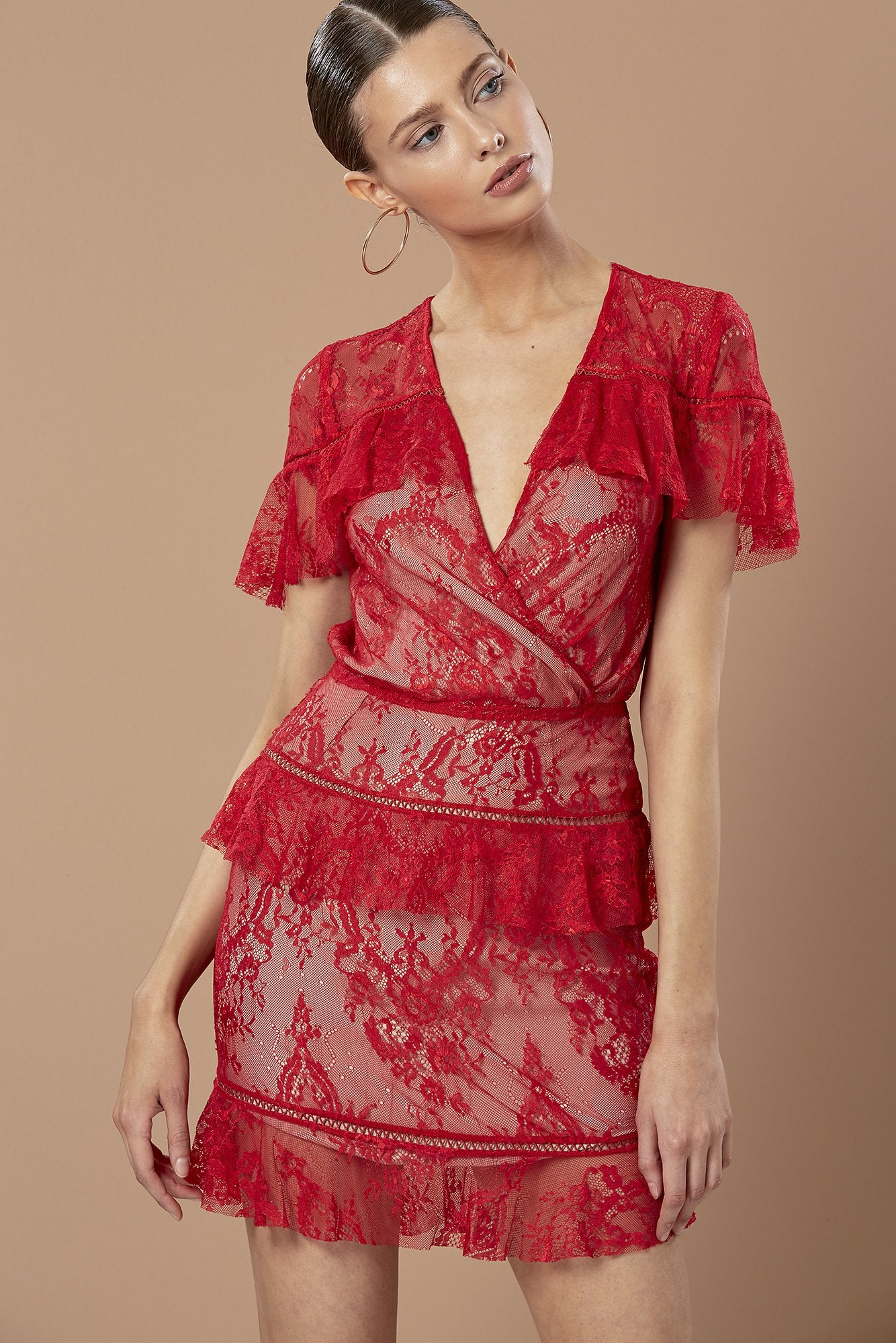 Willow Frill Dress - Red