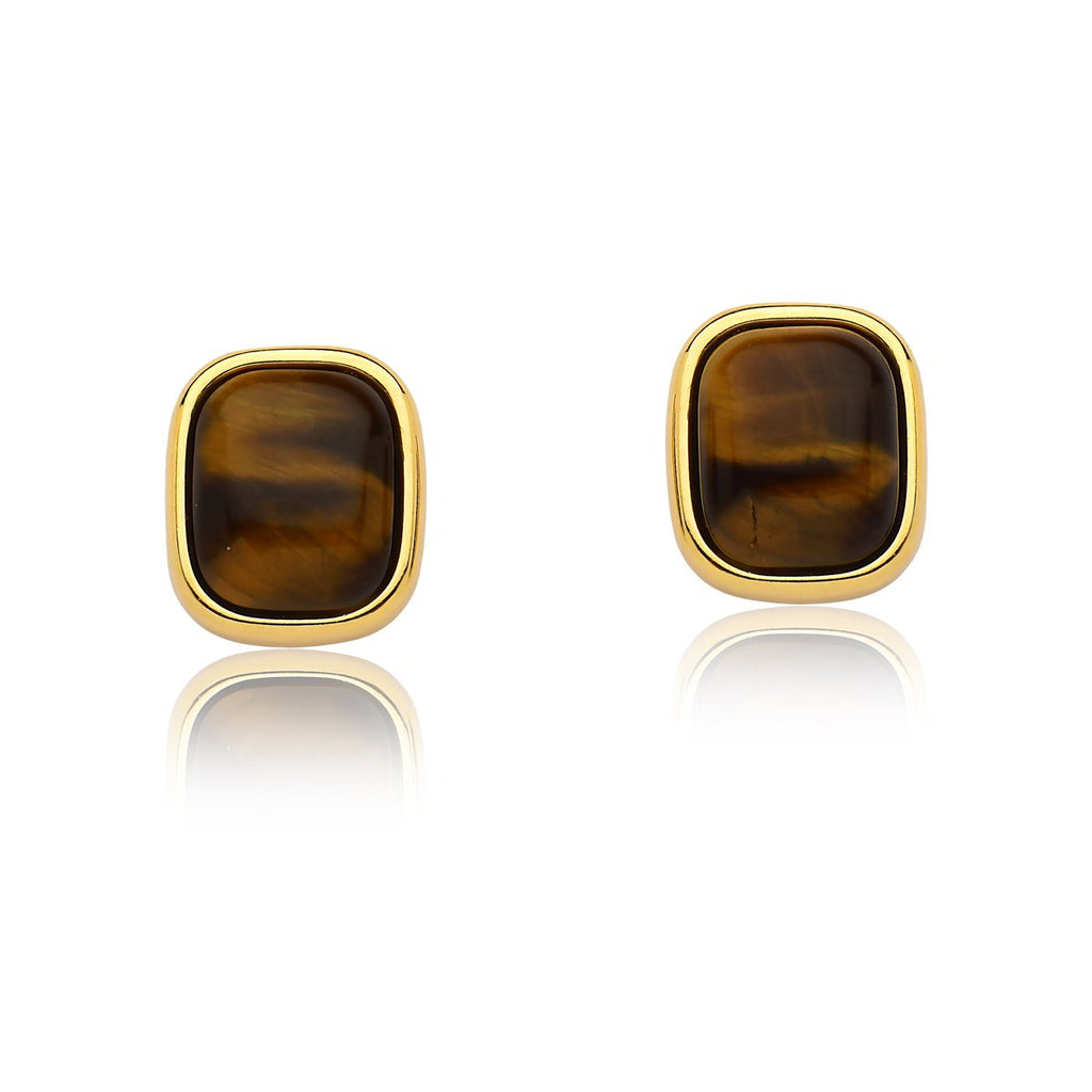 Tigers Eye Earrings – Gold Large
