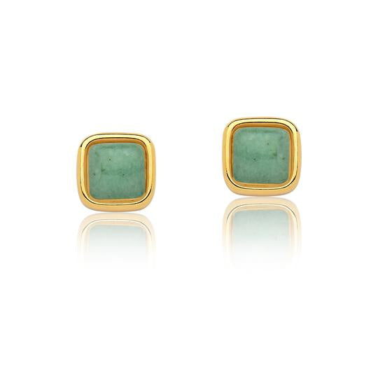 Green Quartz Earrings - Gold Small