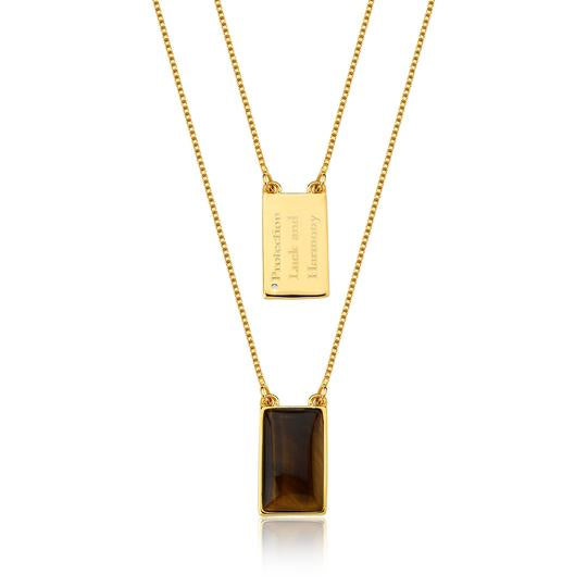 Tigers Eye Necklace - Gold 100cm