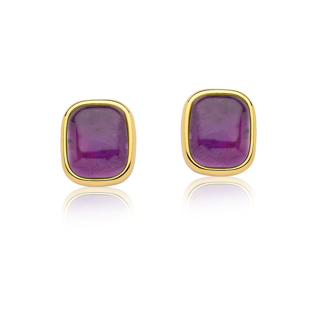 Amethyst Earrings - Gold Large