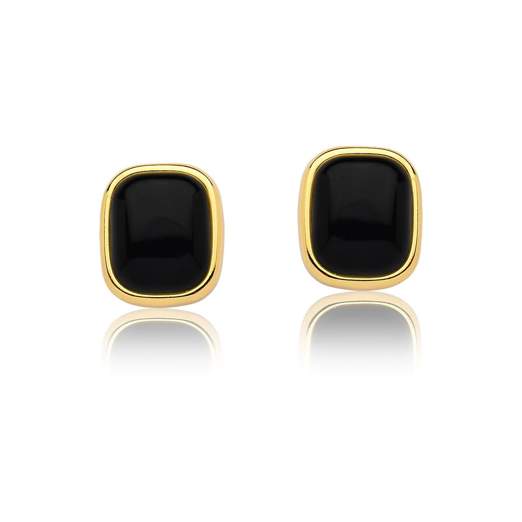 Black Agate Earrings - Gold  Large