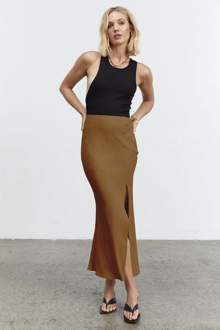 Retold Bias Midi Skirt - Copper