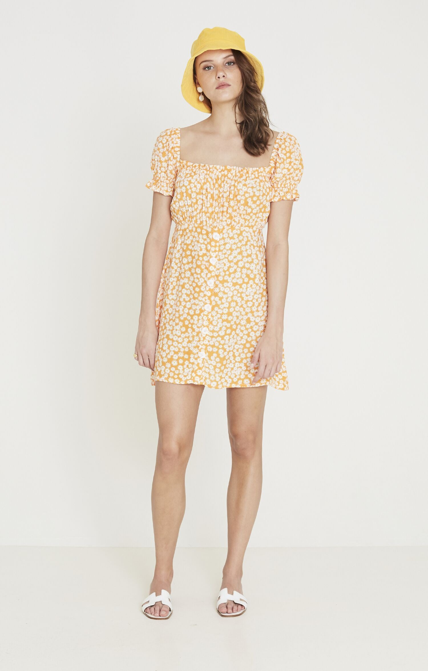 Laura Mini Dress - Dusty Floral Print Orange