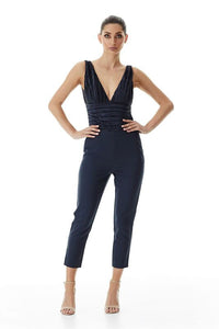 Palazzo Micro Pleat Bodysuit - Ink