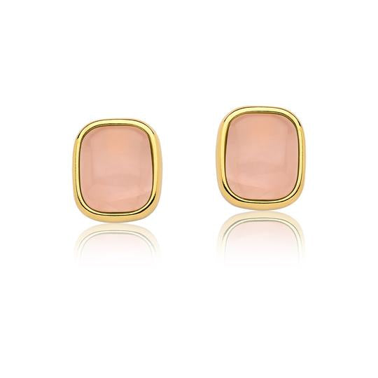 Rose Quartz Earrings - Gold Large