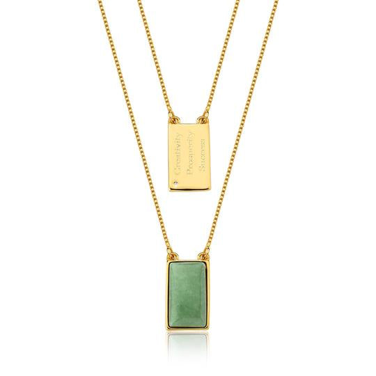 Green Quartz Necklace - Gold 100cm