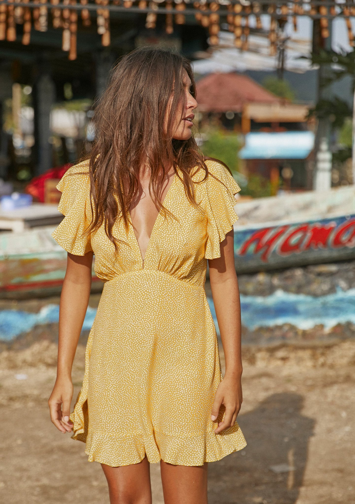 Tear Drop Sunday Mini Dress - Golden Sand