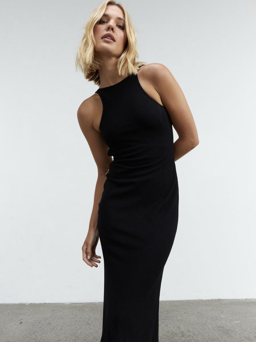 Retold Bias Midi Dress - Black