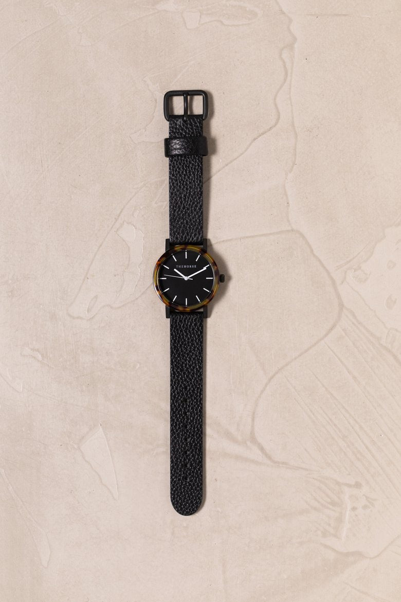 Mini Resin - Tortoise Shell, Black Dial, Black Band