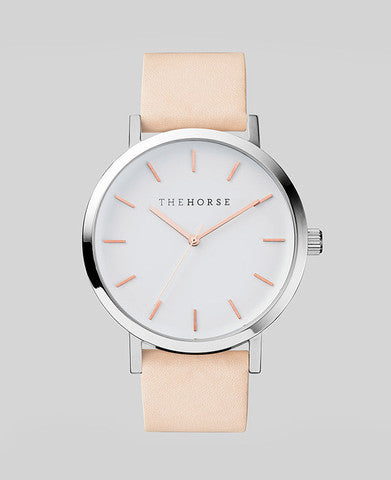 The Original - Polished Steel / White Face / Rose Gold Indexing / Natural Leather