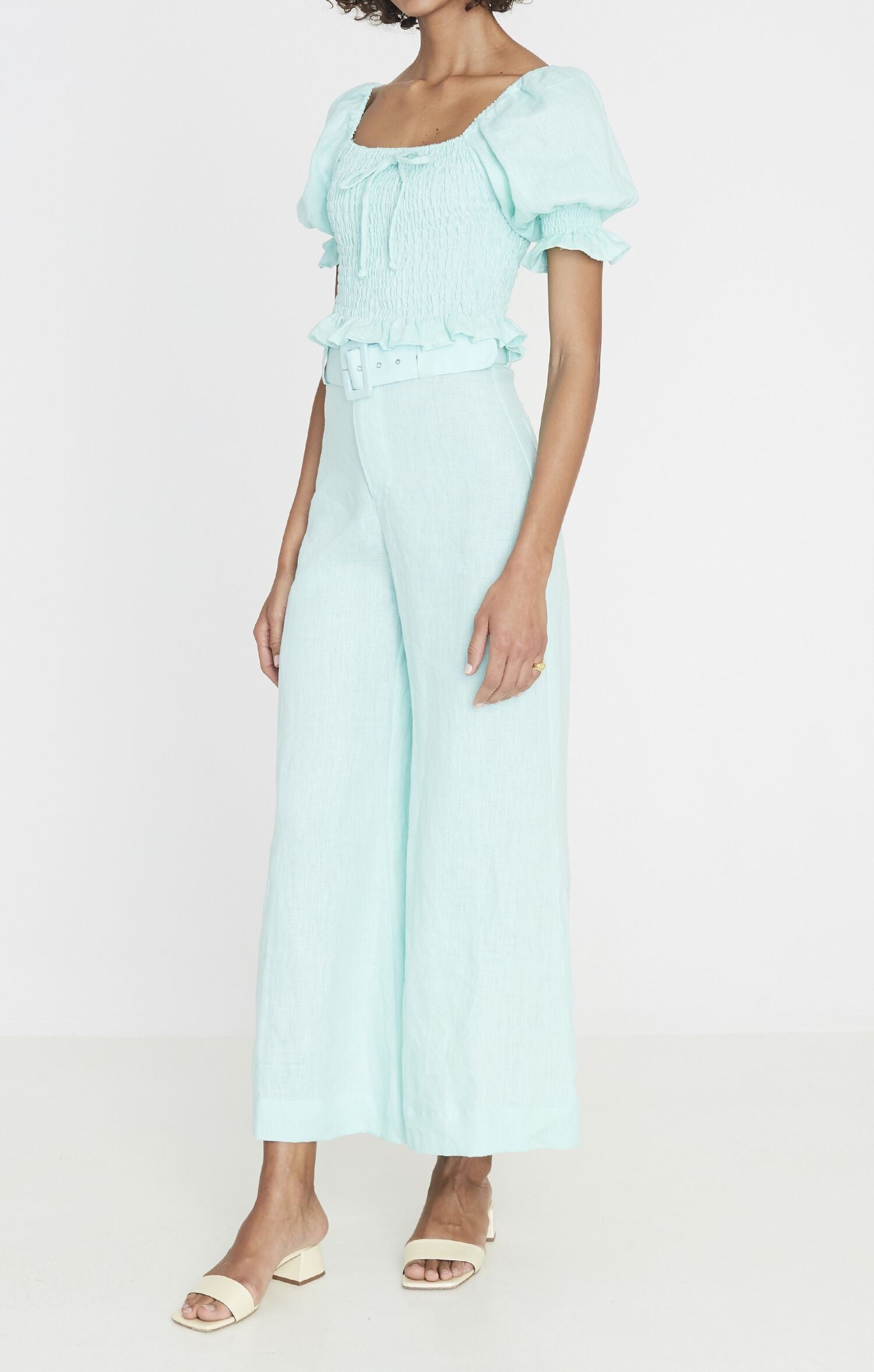 Rose Wide Leg Pants - Plain Spearmint