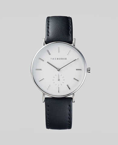 The Classic - Stainless Steel / White face / Black Leather