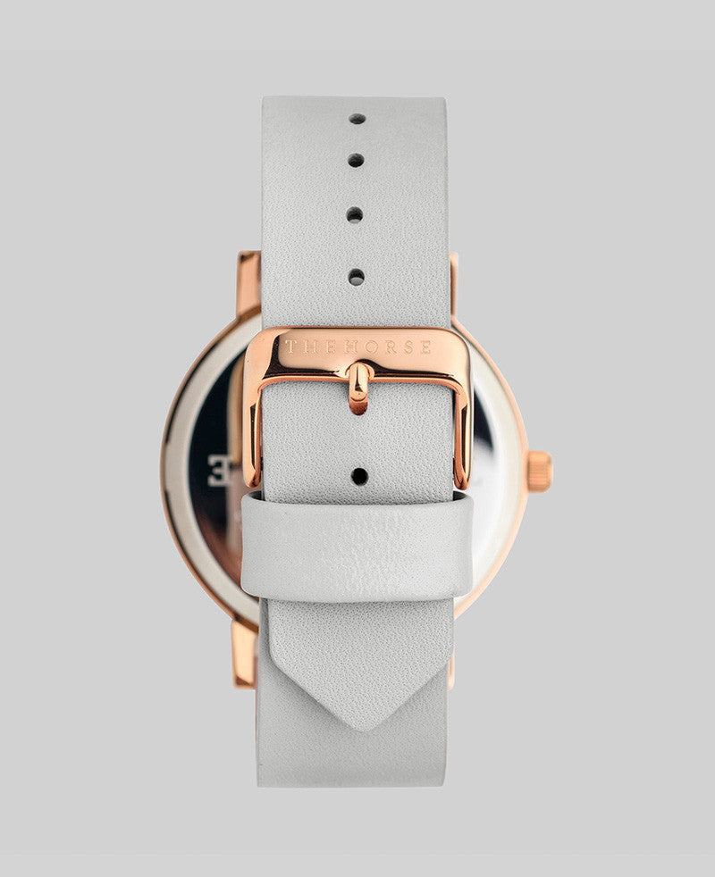 The Original - Polished Rose Gold / White Face / Grey Leather